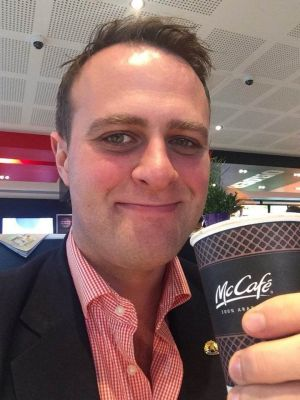 "Human Rights Commissioner Tim Wilson's ""selfie"" at Tecoma Mcdonald's."