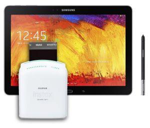 Samsung Galaxy Note and Fuji Instax.