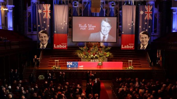 Neville Wran's funeral service at the Sydney Town Hall.