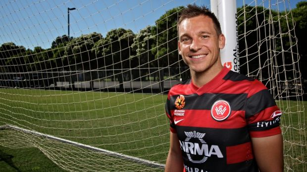 Fighting through adversity: Injured Wanderers striker Brendon Santalab.