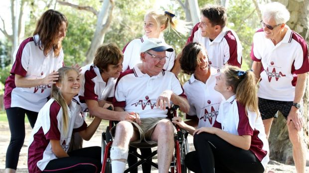 Larry Ryan, centre, surrounded by his family who will be running with him in the <i>Sydney Morning Herald</i> half-marathon.