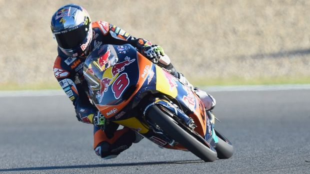 Pole position: Australia's Jack Miller will start from pole for the Moto3 in Spain.