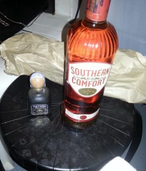 """Get it started"": A bottle of Southern Comfort on Hugh Garth's Facebook page."
