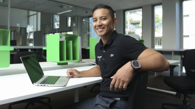 Happy in his space: Raymund Manio saves hours a week by using a smart work centre.
