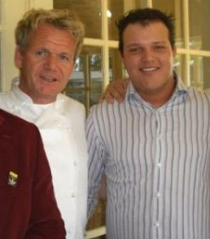 Celebrity chef Gordon Ramsay with Peter Milos.