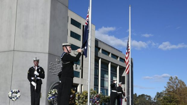 The Last Post is played during the Battle of the Coral Sea commemoration at Field Marshal Sir Thomas Blamey Square     ...
