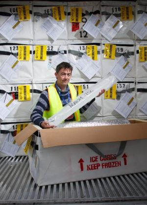 Mark Curran, chief scientific investigator for the Aurora Basin Ice Core Drilling project with ice cores that have ...