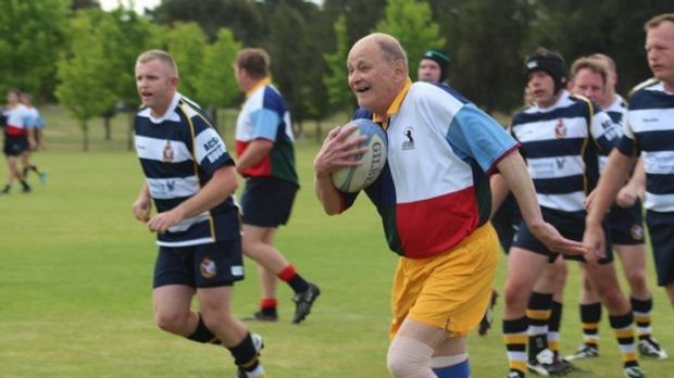 Golden oldie: ACT Veterans rugby player Ian Wells passed away last week aged 81.