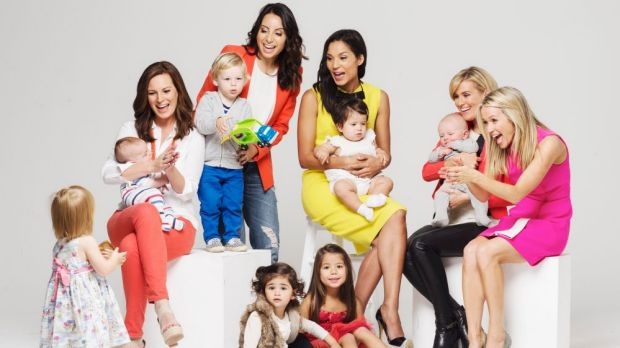 Baby talk: (From left) Media stars and mothers Wendy Kingston, Antoinette Lattouf, Janice Petersen, Eliza Harvey and ...