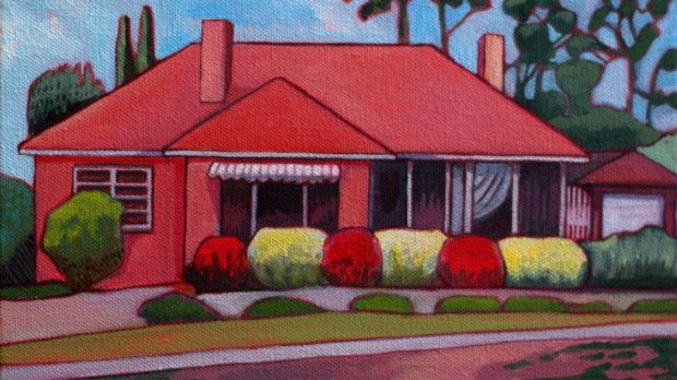 Paintings from Thea Katauskas' exhibition <i>Lawnscapes -Portraits of Canberran houses</i>. 74 David Street.