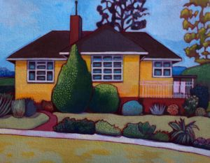 Paintings from Thea Katauskas' exhibition <i>Lawnscapes -Portraits of Canberran houses</i>. 18 Faunce Crescent.