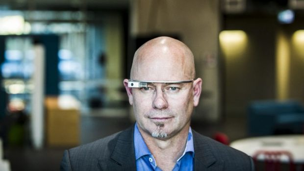 Professor Robert Fitzgerald, director of the Inspire Centre at the UC, wearing Google Glass.