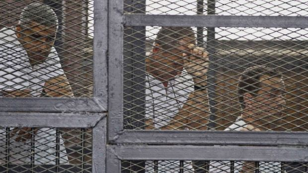 Controversial charges: Al-Jazeera journalists Mohammed Fahmy, Peter Greste and Baher Mohamed in court during their trial.