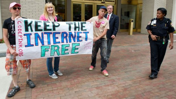 Rally: Protesters support net neutrality in Washington, DC.