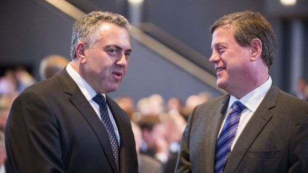 Federal Treasurer Joe Hockey with his Queensland counterpart Tim Nicholls.