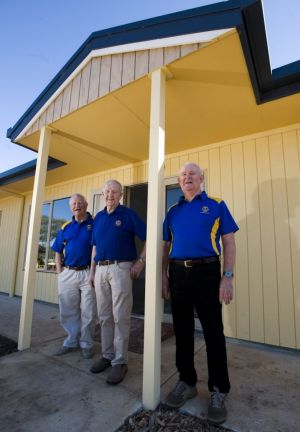 Lions Youth Haven chairman Frank Brown with members Peter Stapleton and Bruce May at the new lodge.
