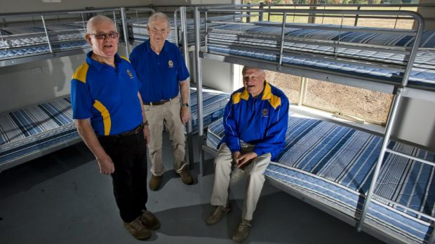 Peter Stapleton, Bruce May and Lions chairman Frank Brown in the new facility.