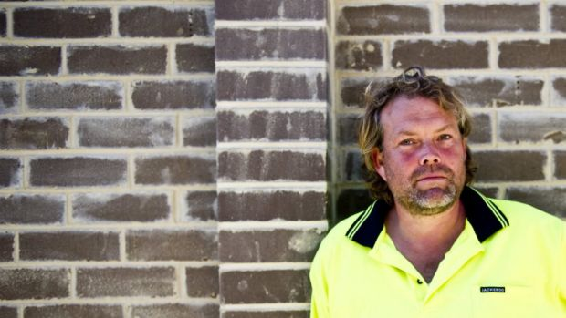 New career post public service: Brick layer Jamie Neiberding is finding it hard to get labourers.
