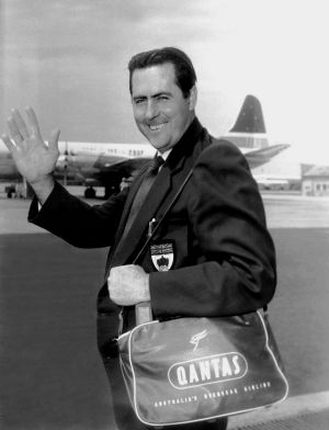 Jack Brabham at Sydney's Mascot Airport on January 3, 1960, en route to New Zealand for the Auckland Grand Prix.