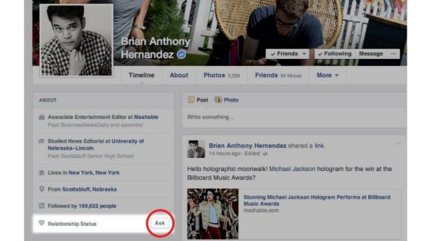 Just ask: Facebook's new feature taps into online dating.