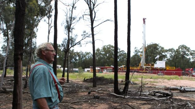 Local resident Tony Pickard near a Santos CSG well.