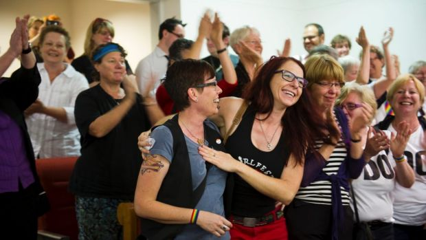 Premature: celebration as the ACT passes the same sex marriage bill in October, last year.