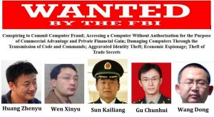 The five Chinese men were indicted for allegedly stealing trade data from industrial companies.
