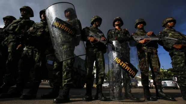 Thai soldiers stand guard during the coup.