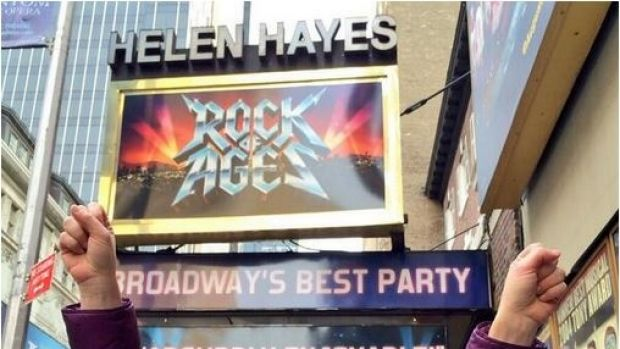 Randi Zuckerberg outside a billboard for the Broadway show ''Rock of Ages'' where she played Regina.