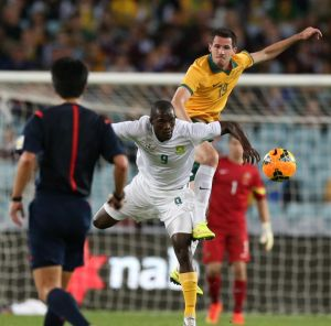 Ryan McGowan in action for the Socceroos against South Africa.