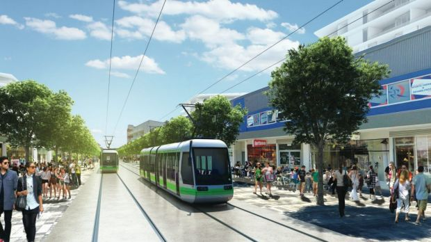 An artist's impression of Canberra's light rail.