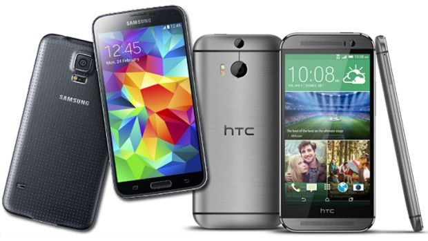 Superphones: Samsung's Galaxy S5, left,  and the HTC One M8.