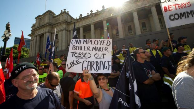 Workers protest about 457 Visas in 2013. The Department of Immigration will now allow overseas workers to stay in ...