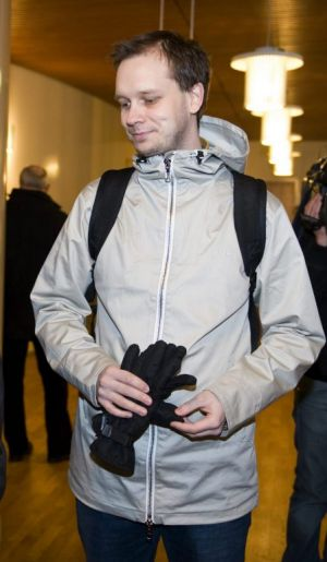 Pirate Bay co-founder Peter Sunde outside a Swedish court in 2009.