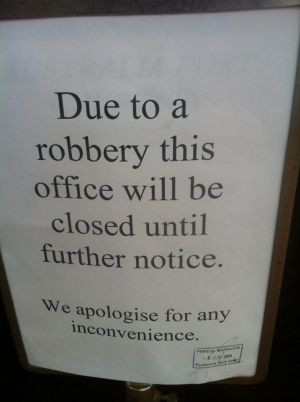 The sign outside the Fyshwick post office.