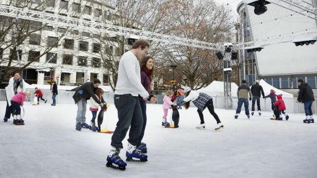 Ice skaters on the ice during last year's Skate in the City at Garema Place.