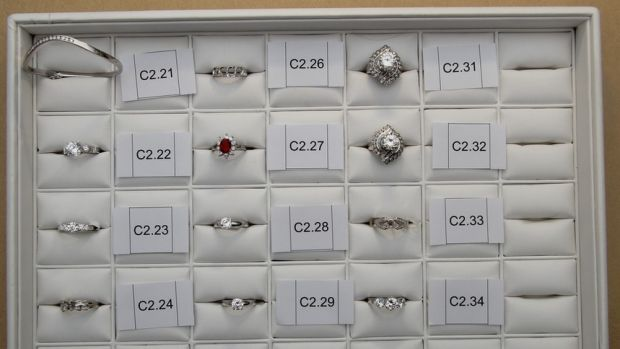Stolen jewellery recovered from an Inala jewellery store in Brisbane's south.