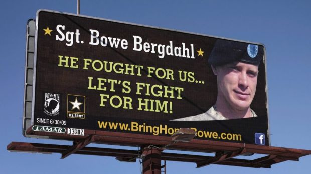 A billboard, photographed last year, calling for the release of Bergdahl, held for nearly five years by the Taliban ...