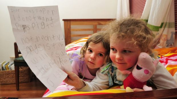 Peppa Pig fan Tess Coventry, 5, with the letter she wrote calling for the popular children's TV show to stay on the ABC ...