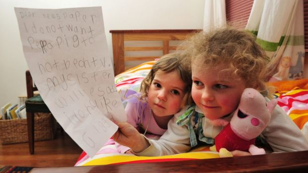 Peppa Pig fan, Tess Coventry, 5 with the letter that she wrote to the paper hoping that Peppa Pig wouldn't be taken from ...