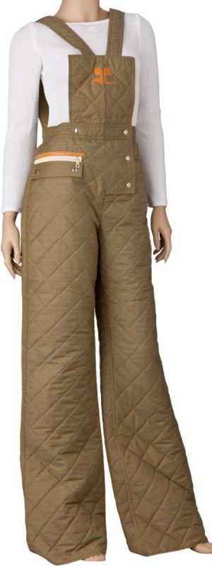 Quilted cool: A Courrèges jumpsuit in olive quilted cotton and polyester with pop buttons, leather trim monogram and ...
