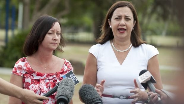 "Yvette D'Ath with Annastacia Palaszczuk says the state government's asset sale plan would create an""Americanised ..."