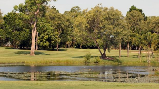 Two crocs have taken up residence at Half Moon Bay Golf Course at Yorkeys Knob, in far north Queensland.