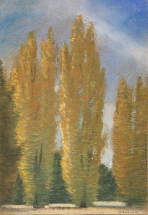 Untitled poplars, Canberra, 1920, Elioth Gruner, from Ruth Schmedding collection.