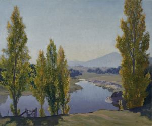 Elioth Gruner oil: The Golden Poplars, Canberra, 1937 oil on canvas. from the Kerry Stokes Collection.