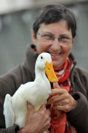 Duck breeder Margaret Day, from Carwoola, with her best-of-breed young white indian runner duck, Cecil.