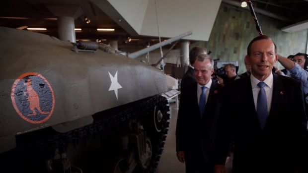 Closer ties: Prime Minister Tony Abbott visited the Canadian War Museum with Brendan Nelson from the Australian War ...
