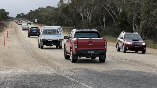 Traffic slowed because of road works on the Kings Highway near the Goulburn turn off.