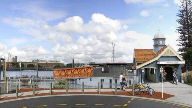 An artist impression of the upgraded Bulimba ferry terminal.