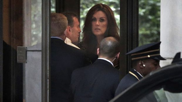 Ms Credlin, pictured with Mr Abbott during a visit with Mr Murdoch in New York last year.